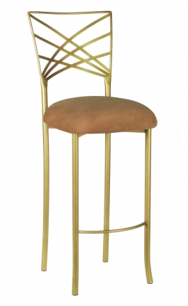Gold Fanfare Barstool with Camel Suede Cushion (2)