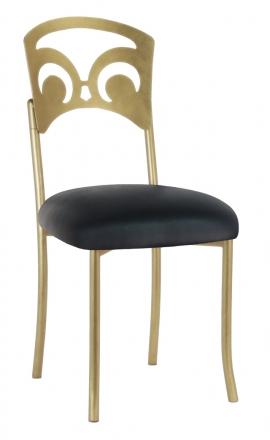 Gold Fleur de Lis with Black Leatherette Cushion (2)