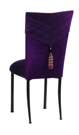 Great Eggplant Velvet Hat And Tassel Chair Cover With Eggplant Velvet Cushion On  Brown Legs (1 ...