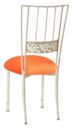 Ivory Bella Fleur with Tangerine Stretch Knit Cushion (1)