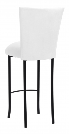 White Suede Barstool Cover and Cushion on Black Legs (1)