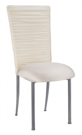 Chloe Ivory Stretch Knit Chair Cover and Cushion on Silver Legs (2)