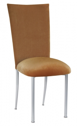 Gold Velvet Chair Cover and Cushion on Silver Legs (2)