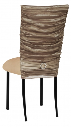 Beige Demure Chair Cover with Jeweled Band and Beige Stretch Knit Cushion on Black Legs (1)