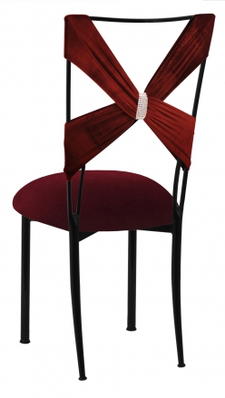 Cranberry Velvet Criss Cross with Rhinestone Accent and Cushion on Black Legs (1)