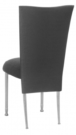 Charcoal Linette Chair Cover and Cushion on Silver Legs (1)