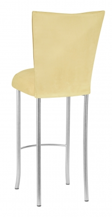 Buttercup Suede Barstool Cover and Cushion on Silver Legs (1)