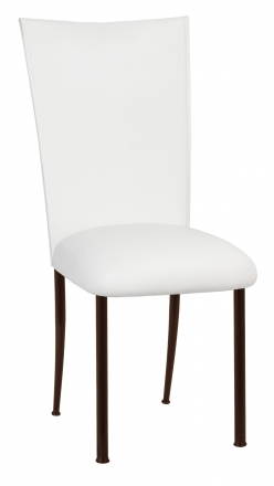 White Leatherette Chair Cover and Cushion on Brown Legs (2)