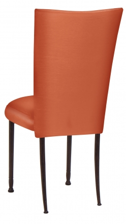Orange Taffeta Chair Cover with Boxed Cushion on Mahogany Legs (1)