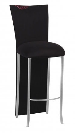 Black Suede Mum Barstool Jacket with Cushion on Silver Legs (2)