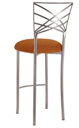 Silver Fanfare Barstool with Copper Suede Cushion (1)