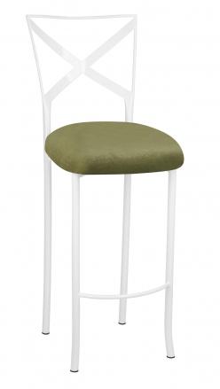 Simply X White Barstool with Olive Velvet Cushion (2)