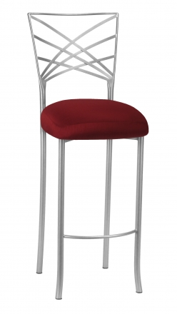 Silver Fanfare Barstool with Burnt Red Dupioni Boxed Cushion (2)