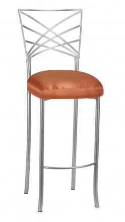 Silver Fanfare Barstool with Orange Taffeta Boxed Cushion (2)