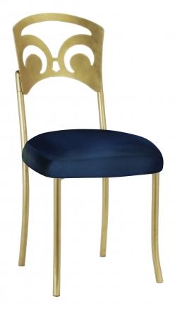 Gold Fleur de Lis with Midnight Blue Taffeta Boxed Cushion (2)