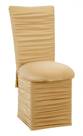 Chloe Gold Stretch Knit Chair Cover with Tassel Belt, Cushion and Skirt (2)