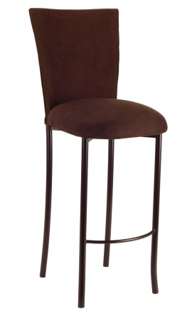 Chocolate Suede Chair Cover and Cushion on Brown Legs (2)
