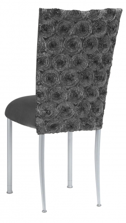 Pewter Circle Ribbon Taffeta Chair Cover with Charcoal Suede Cushion on Silver Legs (1)
