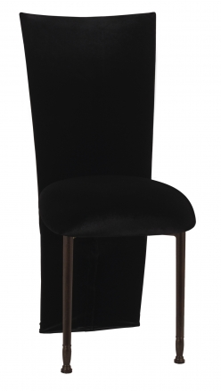 Black Velvet Zig Zag Black Lace Jacket with Black Stretch Knit Cushion on Mahogany Legs (2)