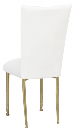 White Leatherette Chair Cover and Cushion on Gold Legs (1)