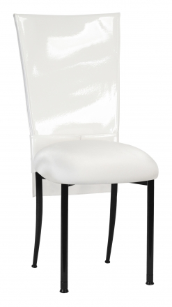 White Patent Chair Cover and Rhinestone Belt with White Stretch Knit Cushion on Black Legs (2)