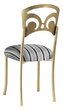 Gold Fleur de Lis with Charcoal Striped Cushion (1)