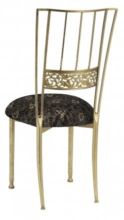 Gold Bella Fleur with Black Lace over Black Stretch Knit Cushion (1)