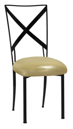 Blak. with Metallic Gold Stretch Knit Cushion (2)