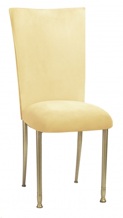 Buttercup Suede Chair Cover and Cushion with Gold Legs (2)