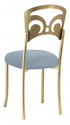 Gold Fleur de Lis with Ice Blue Suede Cushion (1)