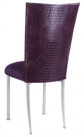 Purple Croc Chair Cover with Eggplant Velvet Cushion on Silver Legs (1)