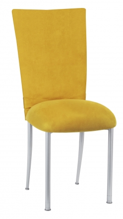 Canary Suede Chair Cover with Jewel Belt and Cushion on Silver Legs (2)