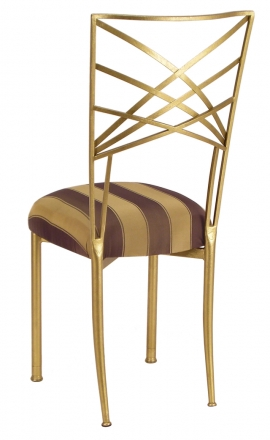 Gold Fanfare with Gold and Brown Stripe Cushion (1)