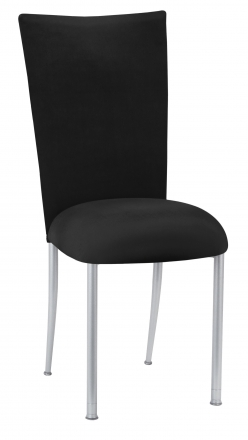 Black Velvet Chair Cover and Cushion on Silver Legs (2)