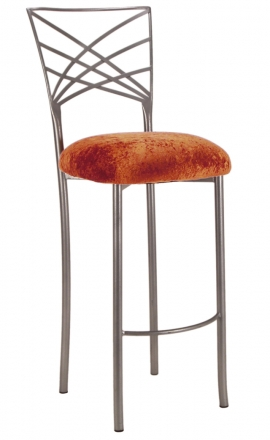 Silver Fanfare Barstool with Paprika Crushed Velvet Cushion (2)