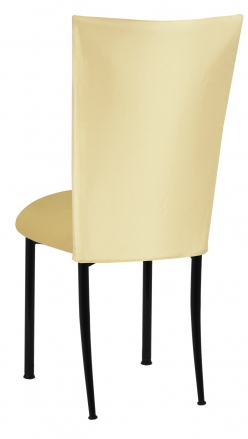 Lemon Ice Dupioni Chair Cover with Gold Knit Cushion on Black Legs (1)