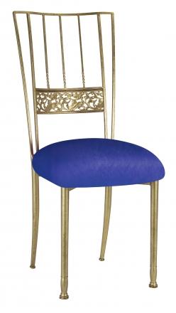 Gold Bella Fleur with Royal Blue Stretch Knit Cushion (2)
