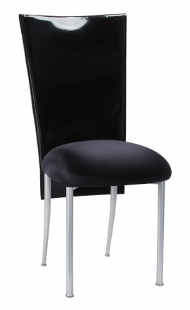 Black Patent 3/4 Chair Cover with Black Stretch Knit Cushion on Silver Legs (2)