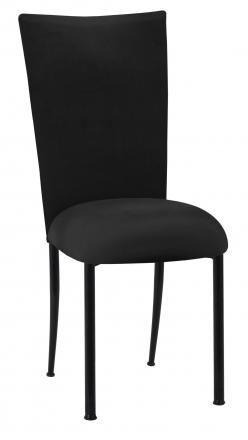 Black Velvet Chair Cover and Cushion on Black Legs (2)