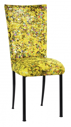 Yellow Paint Splatter Chair Cover and Cushion on Black Legs (2)