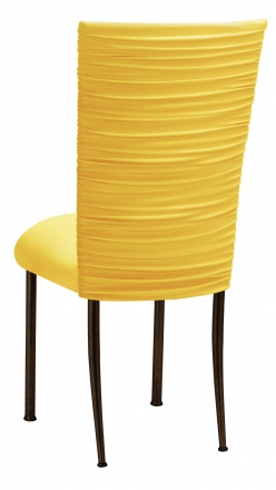 Chloe Bright Yellow Stretch Knit Chair Cover and Cushion on Brown Legs (1)