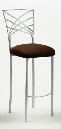 Silver Fanfare Barstool with Chocolate Suede Cushion (2)