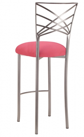 Silver Fanfare Barstool with Raspberry Suede Cushion (1)