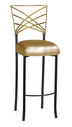 Two Tone Fanfare Barstool with Gold Leatherette Boxed Cushion (2)