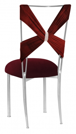 Cranberry Velvet Criss Cross with Rhinestone Accent and Cushion on Silver Legs (1)