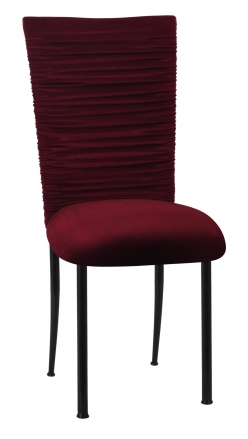 Chloe Cranberry Velvet Chair Cover and Cushion on Black Legs (2)