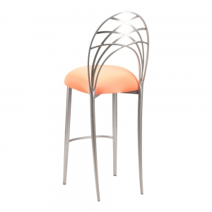 Silver Piazza Barstool with Tangerine Stretch Knit Cushion (1)