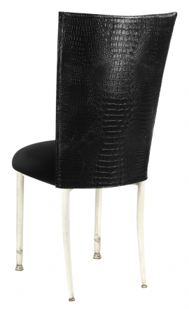 Black Croc Chair Cover with Black Velvet Cushion on Ivory Legs (1)