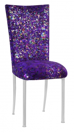 Purple Paint Splatter Chair Cover and Cushion on Silver Legs (2)