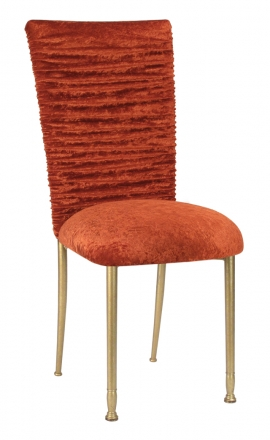 Chloe Paprika Crushed Velvet Chair Cover and Cushion on Gold Legs (2)